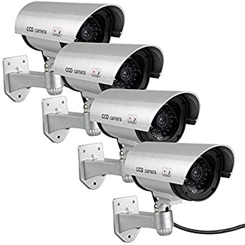 Dummy Security Zoom Lens Camera with Blinking LED Made from Real Camera Housing