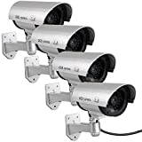 Dummy Security Camera, Fake CCTV Surveillance System with Realistic Red Flashing Lights and Warning Sticker (4, Silver)