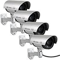 4 PACK Waterproof Dummy Fake Surveillance Security CCTV Dome Camera with Record LED Light Indoor & Outdoor (Silver)