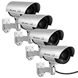 Fake Cameras for Outdoor, Dummy Camera CCTV Surveillance System with Realistic Red Blinking Lights and Warning Sticker for Home Businesses (4, Silver)