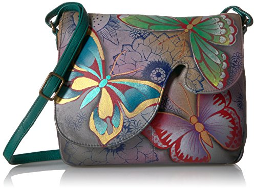 (Anna by Anuschka Handpainted Leather Women's Convertible Shoulder Bag, bpd-butterfly paradise)