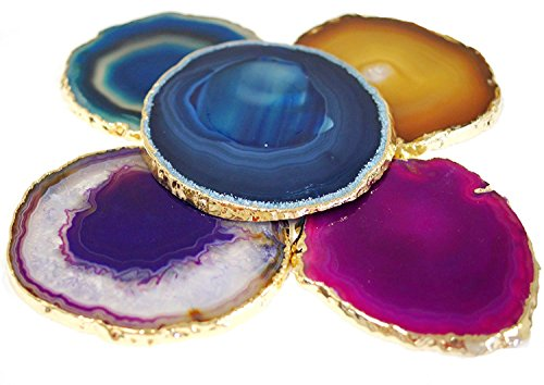 JIC Gem Golden Plated Dyed Mixed Color Agate Coasters 3-4'' set of 5 pcs Blue, Teal, Natural, Pink, Purple, with Rubber Bumper by JIC Gem (Image #5)