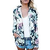 Mose Coat for Women, Womens Floral Print Top Coat Outwear Sweatshirt Hooded Jacket Overcoat Chiffon Button Shirt Blouse Tops