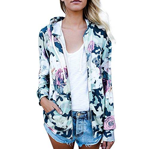Makeupstore Womens Casual Blouse Coat,Floral Print Top Coat Outwear Sweatshirt Hooded Jacket Long Sleeves Overcoat -