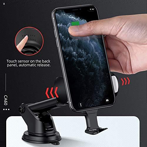 Hoco. Chargeur sans Fil Voiture, Auto Induction Support Téléphone, Charge Rapide 10W pour Samsung S10/S9/S8/Note10/Note9, 7.5W pour iPhone 11/11 Pro Max/XS Max/XR/8/8plus