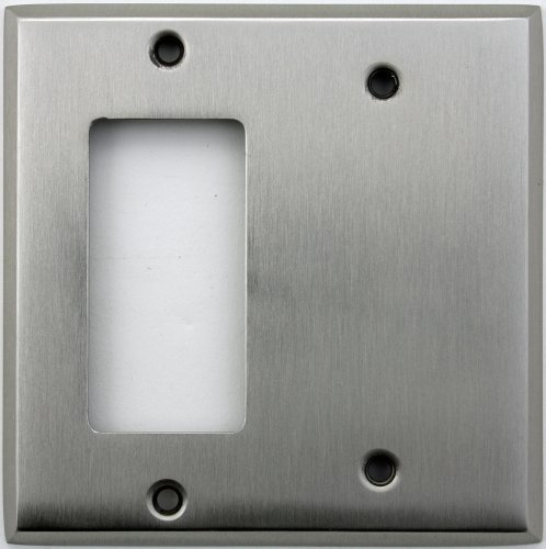 Gfi Blank - Classic Accents Stamped Steel Satin Nickel Two Gang Wall Plate - One GFI/Rocker Opening One Blank