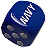 united states plastic puzzle - Custom & Unique {Standard medium 16mm} 2 Ct Pack Set of 6 Sided [D6] Square Cube Shape Playing & Game Dice w/ Rounded Corner Edges w/ Simple Gloss United States Military Navy Design [Blue & White]