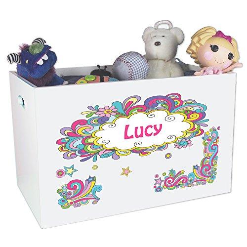 Personalized Swirl Childrens Nursery White Open Toy Box by MyBambino (Image #1)