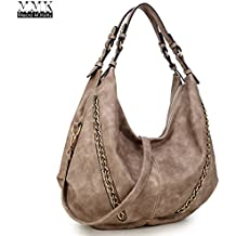 MMK Collection Women Soft Water Wash PU Leather Vintage(6332) Top Dual Handle Crossbody Fashion Cowboy Young Style Chained Hobo Shoulder Bag Handbag