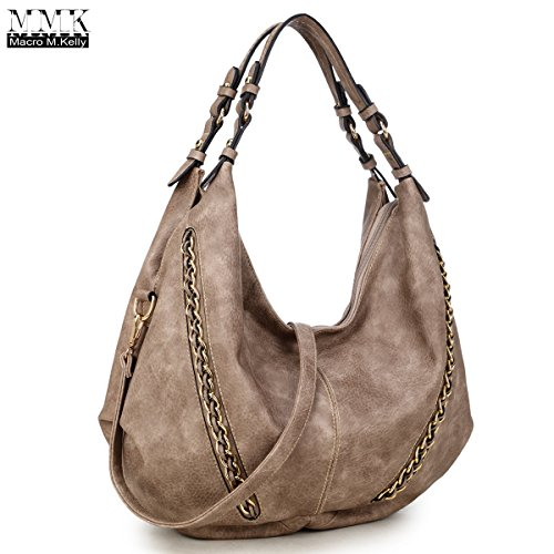 MMK Collection Women Soft Water Wash PU Leather Vintage(6332) Top Dual Handle Crossbody Fashion Cowboy Young Style Chained Hobo Shoulder Bag Handbag - Collection Leather