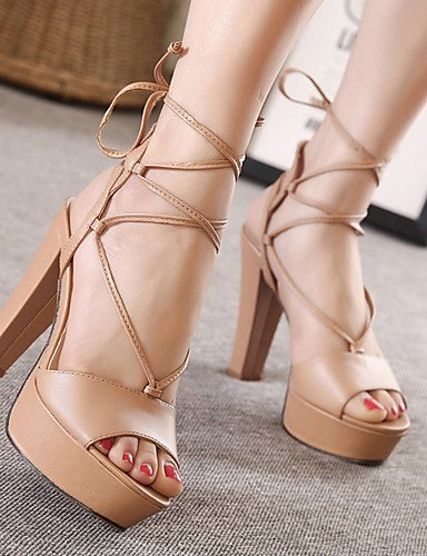 Open Dress Sandals Chunky Almond ShangYi Black Leatherette Almond Toe Shoes Women's Heel w78H0nSXH