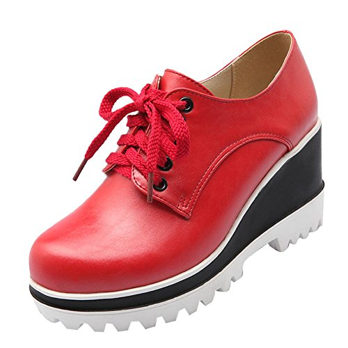 Carolbar Women's Fashion Lace Up High Heel Wedge Platform Ankle Boots Red