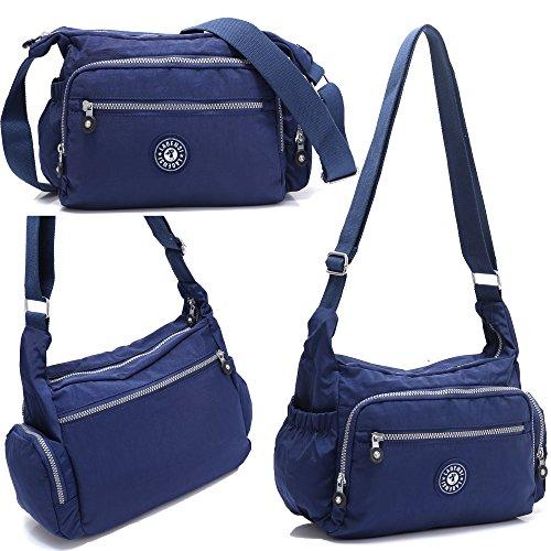 pocket Travel Resistant Multi Shoulder Bag Nylon Kl1144 Unisex Crossbody Bekilole model Purse Water Blue SnfWBxvZ