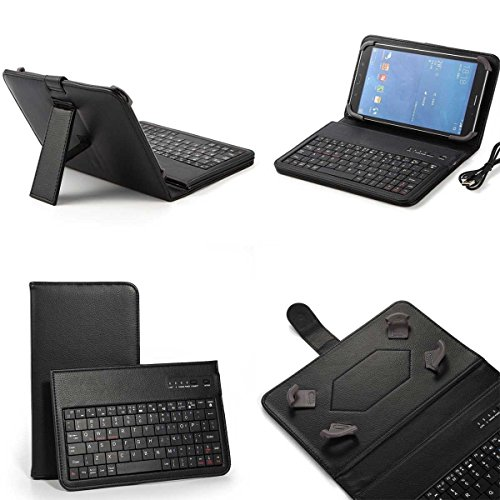 (ONLY 7 INCH) HP,Samsung,LG,RCA,Google,Nextbook,IRulu,Fire 2015 2016,Verizon,AT&T,Kindle ,Universal Android tablet Wireless Bluetooth keyboard case With Folio Leather Case Stand Cover (BLACK)