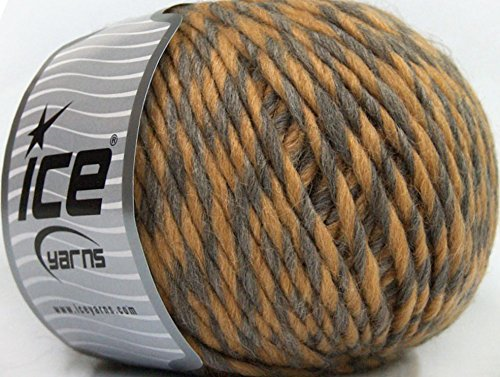 Lot of 4 x 100gr Skeins Ice Yarns INCA ALPACA BULKY (40% Alpaca 50% Virgin Wool) Yarn Light Brown Grey (Alpaca Yarn Inca)