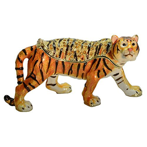 (Tiger Jewelry Trinket Box Animal Figurine Vintage Collectible Keepsake Art Decor Holder Organizer)