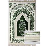 Orthopedic Padded Foam Cushion Muslim Prayer Rug - Thick Velvet Islamic Namaz Sajadah Janamaz Carpet (Green)