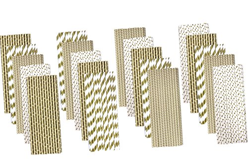 Gold Chevron, Polka Dot and Stripe Paper Straws - Bulk 500 Pack - Outside the Box Papers (500 Ct Box)