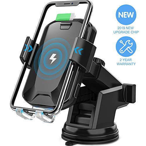 Wireless Car Charger, CHGeek 10W Qi Fast Charging Auto Clamping Car Mount Windshield Dashboard Air Vent Phone Holder for iPhone Xs Max XR X 8 8 Plus, Samsung Galaxy S10 S10+S9 S9+ S8 Note 9, etc