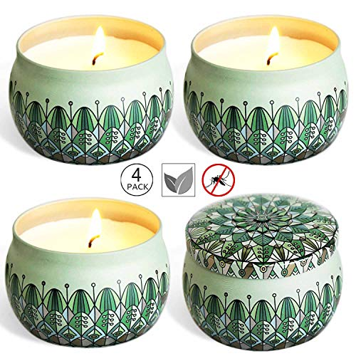 YIHANG Citronella Scented Candles Set 4 Natural Soy Wax Travel Tin 18 oz, Outdoor and Indoor