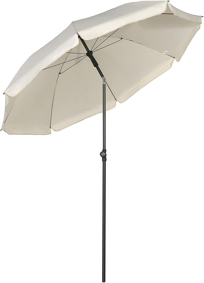 Sekey® Sombrilla Ø 200 cm Parasol para terraza jardín Playa balcón Piscina Patio, Color Crema, Protector Solar UV25+