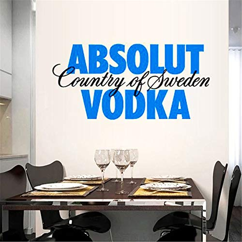 Vinyl Wall Decals Quotes Sayings Words Art Deco Lettering Inspirational Vodka Restaurant Kitchen Absolut Country of Sweden Vodka Home Decor ()