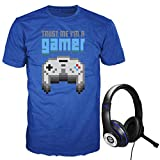 Audio Council Trust Me I'm A Gamer Men's Graphic T-Shirt and Gamer Headset Value Pack Set (Small, Blue)