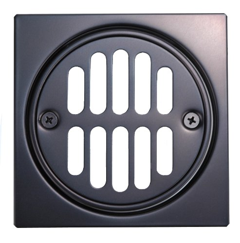Floor Drain, Brass-built, Tile-square, Oil Rubbed Bronze Finish - By Plumb USA by PlumbUSA