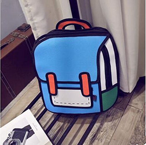 Genius_Baby 3D Drawing Bag Cartoon Comic Vintage Backpack for College Girls Laptop Bag (Blue)