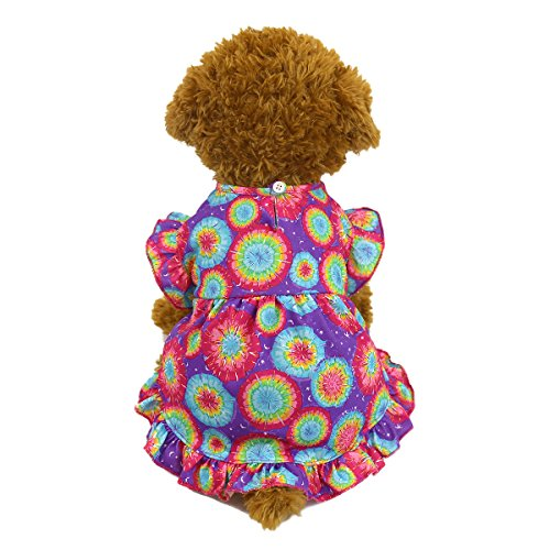 (Q Dou Pet Fashion Sweet Puppy Dog Ruffled Skirt Dog Pleated Dress Puff Ball Skirt Summer Apparel (XL, Purple))