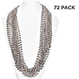 (72 Pack) 33'' Inch Round Metallic Mardi Gras Party Necklace Beads (Silver)