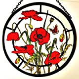 Decorative Hand Painted Stained Glass Window Sun Catcher/Roundel in a Meadow Poppies Design.