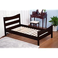 Merax Wood Platform Bed Frame with Headboard / No Box Spring Needed / Wooden Slat Support / Espresso Finish (-Espresso-)