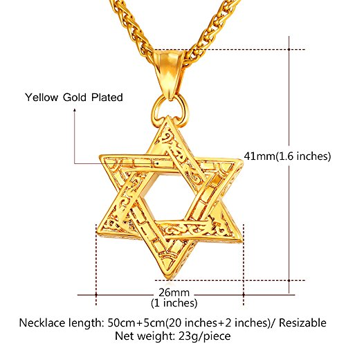 Jewish Jewelry Vintage Style Amulet Pendant for Men & Women Chain 22 Inch 18K Gold Plated Star of David Necklace