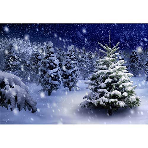 YongFoto 10x8ft Winter Cedar Forest Backdrop Falling Snow Snowflake Photography Background Snow Night Outdoor Landscape Christmas Eve Party Decor Kids Adult Portrait Photo Studio Props Wallpaper (Christmas Wallpaper Falling Snow)