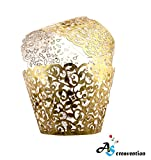 A&S Creavention Vine Cupcake Holders Filigree Vine Designed Decor Wrapper Wraps Cupcake Muffin Paper Holders - 50pcs (50, Brilliant Gold)