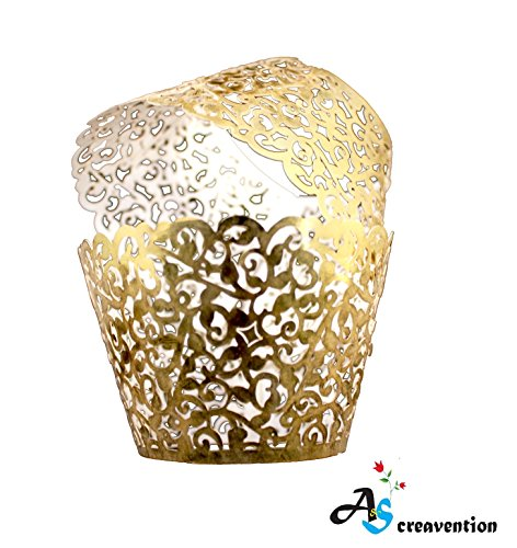 A&S Creavention Vine Cupcake Holders Filigree Vine Designed Decor Wrapper Wraps Cupcake Muffin Paper Holders - 50pcs (50, Brilliant Gold)]()