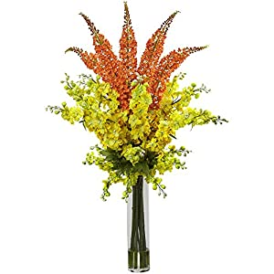 Nearly Natural Delphinium/Foxtail Multicolored Silk Floral Arrangement - Yellow 111