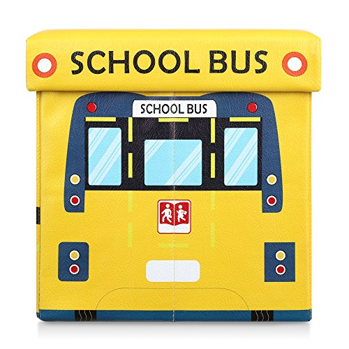 New Safari Bus Kids Folding Storage Bin Toy Box Clothes: USA IKayaa Folding Storage Ottomans Organizer Footrest
