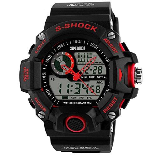 SunJas coole Mode feine Qualität Multifunktions-wasserdichte elektronische Quarz Armbanduhren für Jungen, Schüler Leucht Chronograph am Handgelenk Armbanduhren (Rot)