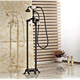 GOWE Oil Rubbed Bronze Free Standing Claw foot Bath Tub Filler Faucet Hand Shower Mixer Taps Floor Mount