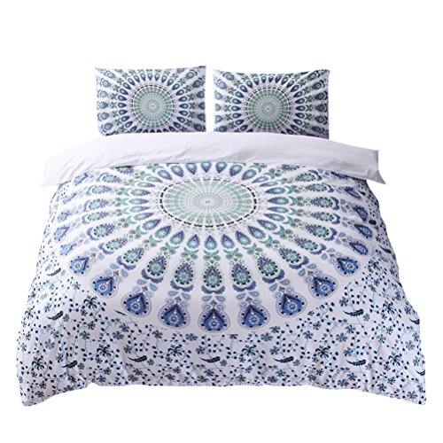 3 Piece Shi Set (Zhuhaitf 3 Piece National Printing Bedding Set Cozy Duvet Quilt Cover&Pillowcases)
