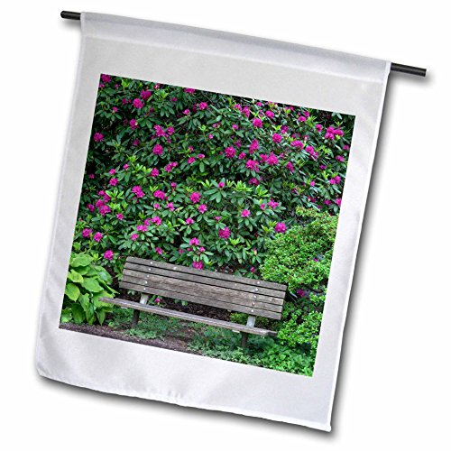 3dRose Danita Delimont - Gardens - Oregon, Portland, Purple blossoms of rhododendrons in bloom and bench. - 12 x 18 inch Garden Flag (fl_279356_1) (Blossom Portland)