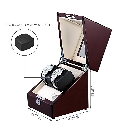 OLYMBROS Wooden Single Automatic Watch Winder Storage Box for 2 Watches with LED Light by Olymbros (Image #1)