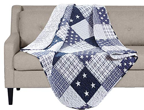SLPR Americana Pride Printed Quilted Throw Blanket (50 x 60)   Home Chic Multicolor Decorative Throw for Bed Couch Sofa