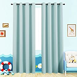 Room Darkening Curtains for Boy's Room 63 inches Long Light Reducing Window Curtain Panels for Kids Room Darkening Thermal Insulated Nursery Drapes, Grommet Top, 2 Panels, Sky Blue