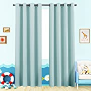 Moderate Blackout Curtains for Kids Room 63 inches Long Nursery Light Reducing Window Curtain Panels for Boy's Room Darkening Thermal Insulated Drapes Grommet Top, 1 Panel, Sky Blue