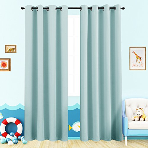 Blackout Curtains for Kids Room Darkening Window Curtain Panels for Living Room 84 inches Long Light Blocking Triple Weave Drapes Grommet Top Window Curtains for Bedroom, 2 Panels, Sky Blue Blue Window Curtains