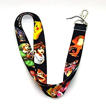 Super Smash Bros Zelda Mario Pikachu Lanyard Keychain Holder Key Card ID Holders Badge Neck Lanyard String Straps