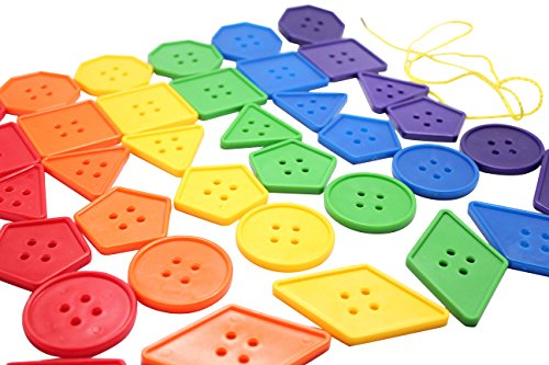 Giant Buttons (Jumbo Lacing Buttons Busy Bag - Perfect fine motor learning activity for toddlers and preschoolers. Sort by shape and color. Travel activity)